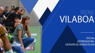 Cartel con el fichaje de Irene Vilaboa como técnico del Teucro /