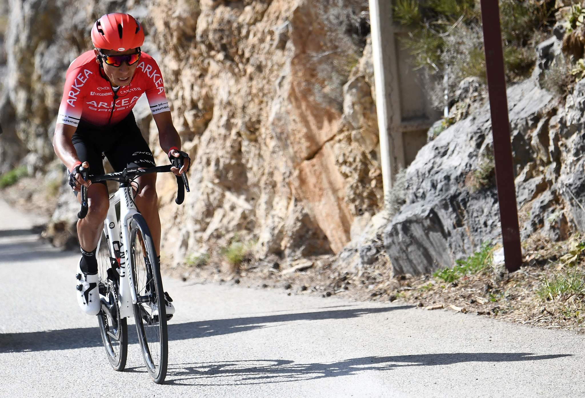 Team Arkea Samsic Colombian rider lt;HIT gt;Nairo lt;/HIT gt; Quintana climbs, during the 166,5 km, 7th stage of the 78th Paris - Nice cycling race stage between Nice and Valdeblore La Colmiane, on March 14, 2020. - The organizers of the 78th Paris-Nice cycling race announced on March 13, 2020 the cancellation of the last stage scheduled for Sunday due to the coronavirus pandemic. (Photo by Alain JOCARD / AFP)