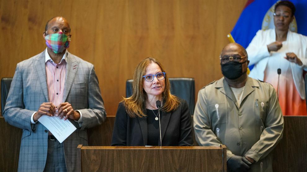 La CEO de GM, Mary Barra, en el Ayuntamiento de Detroit.