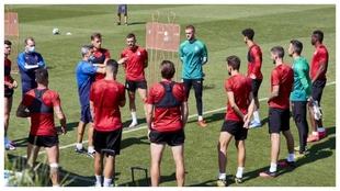 Entrenamiento del Girona grupal, donde los jugadores de Montilivi...