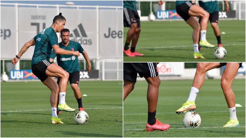 Cristiano Ronaldo entrenando con sus botas de rugby en una sesión de...