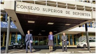 Rubiales (RFEF), Lozano (CSD) y Tebas (LaLiga), en el Consejo Superior...