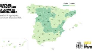 Mapa de España con las provincias que pasan a la Fase 2 y 3.