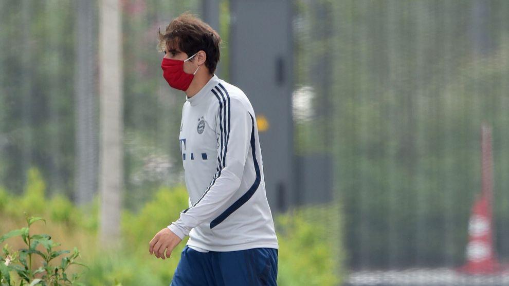 Javi Martínez, en su último entrenamiento con el Bayern.