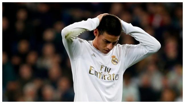 James,en su último partido con el Madrid, el 6 de febrero.
