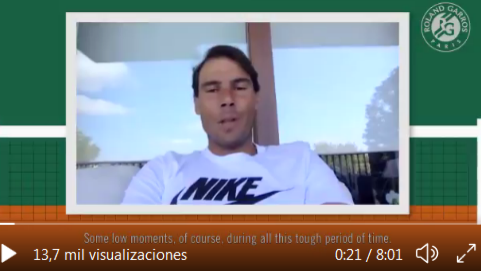 Nadal, en la videconferencia para aficionados de Roland Garros