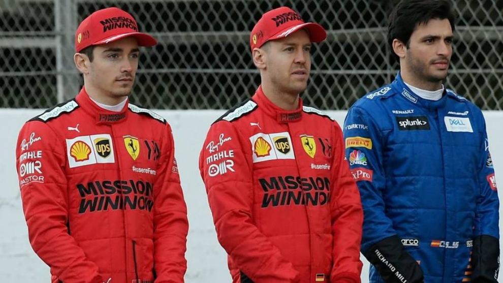 Leclerc, Vettel y Sainz, en Montmeló.