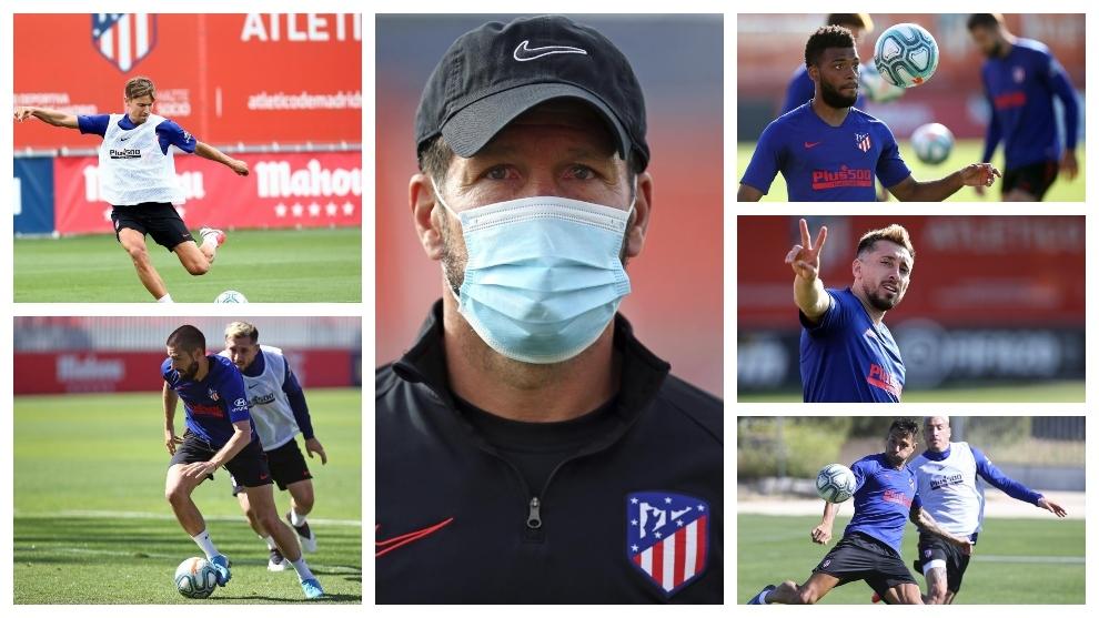 Simeone rodeado de Llorente, Lemar, Carrasco, Herrera y Vitolo.