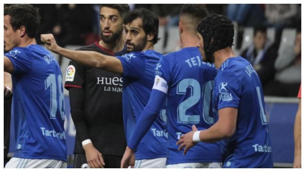 Arribas, durante el partido que el Oviedo disputó ante el Huesca en...