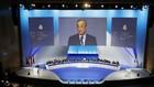 El presidente del Real Madrid se dirige a los socios compromisarios en...