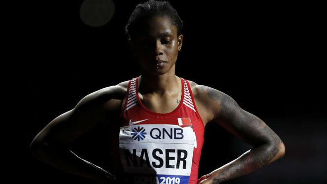 Salwa Eid Naser, en la final de los 400 en el Mundial de Doha de 2019.
