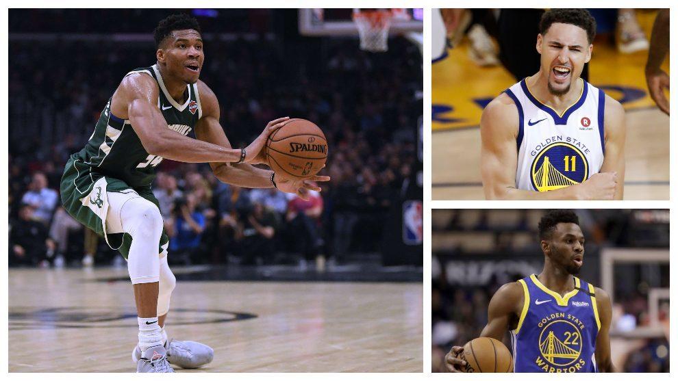 Antetokounmpo (Bucks) y los jugadores de los Warriors Thompson y...