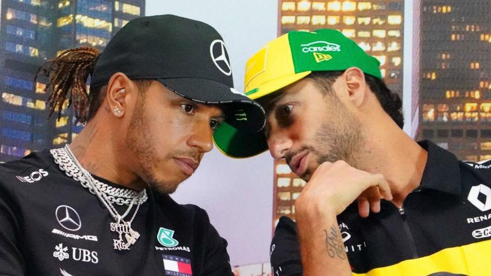 Hamilton y Ricciardo, durante la rueda de prensa del Gran Premio de...