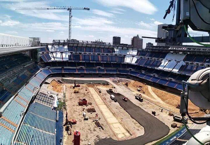 Aspecto de las obras que el Real Madrid realiza en el Santiago...