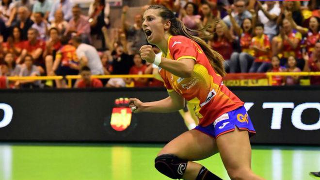 Jennifer Gutiérrez, en un partido con la selección española /
