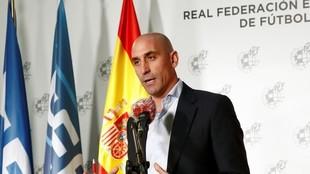 Luis Rubiales, en una comparecencia de prensa durante el periodo de...