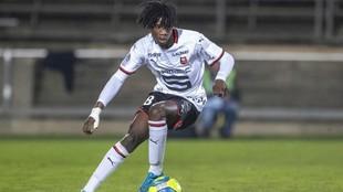 Camavinga, en un partido de Champions con el Rennes.