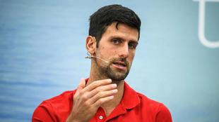 Novak Djokovic durante una conferencia de prensa