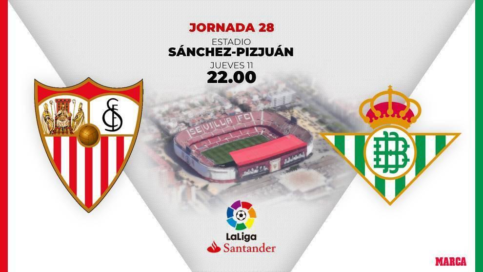 Sevilla - Betis, hora, canal y donde ver hoy el derbi sevillano.