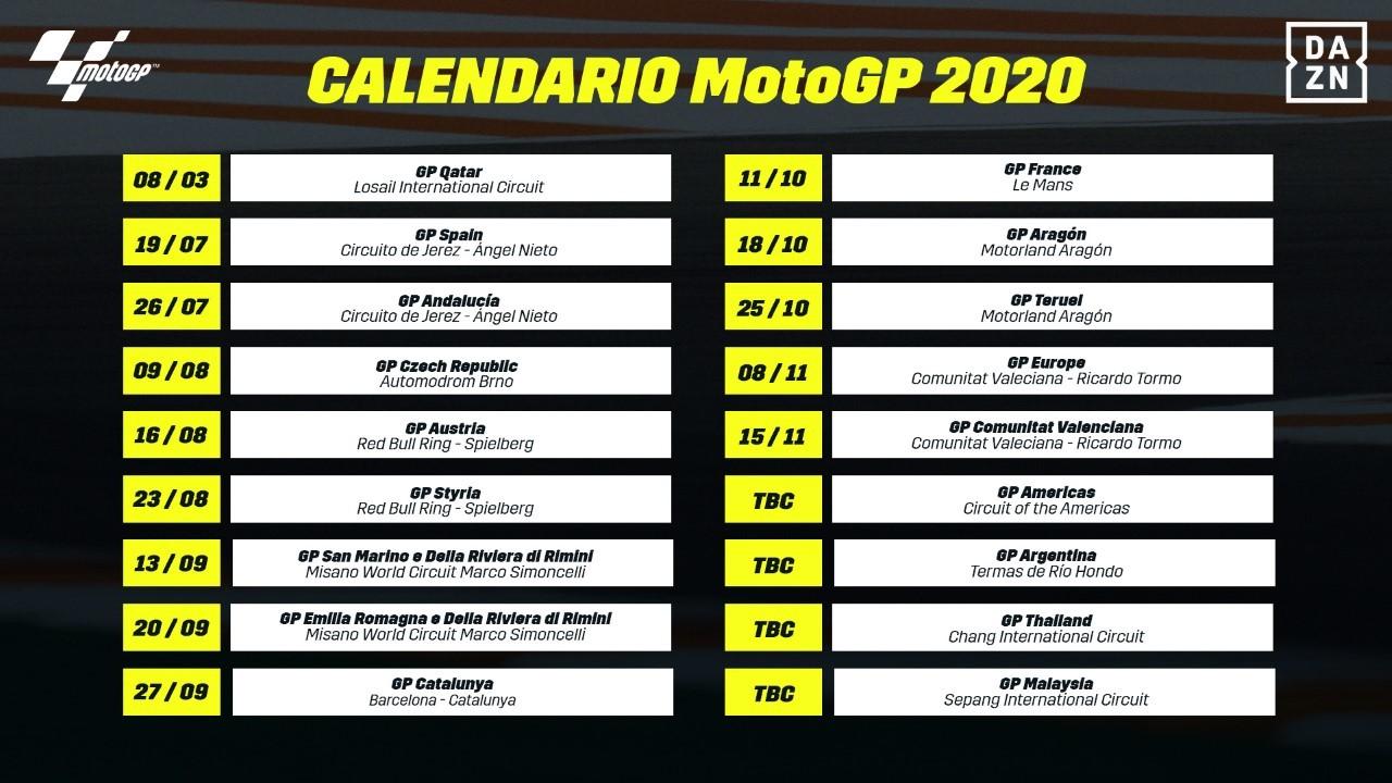 Motogp 2020 Oficial Motogp Publica Su Calendario 2020 Con 13 Carreras Europeas Marca Com