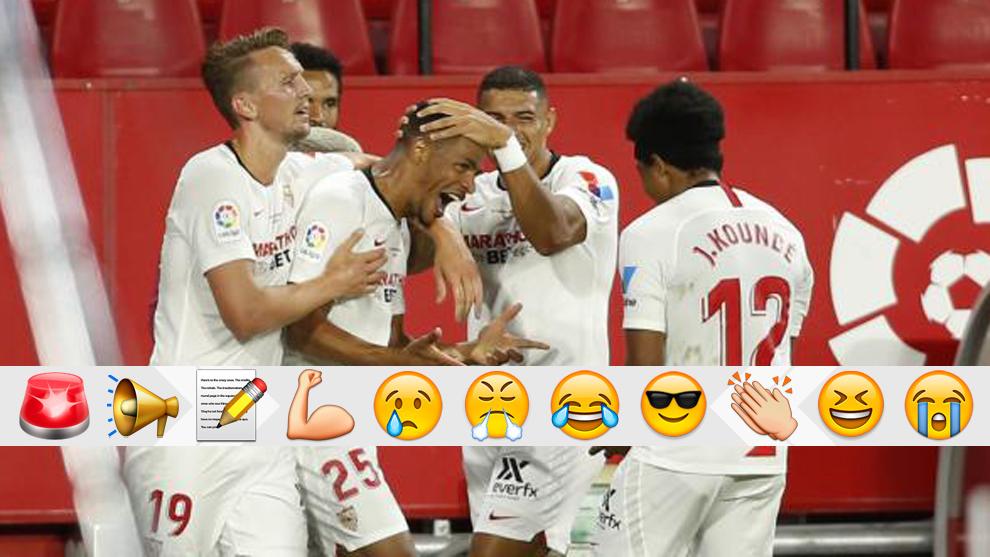 Fernando celebra el gol con sus compañeros
