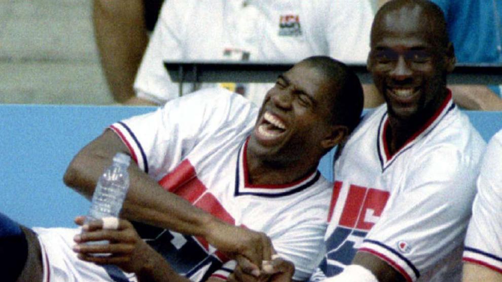 Magic y Jordan coincidieron en el legendario 'Dream Team' de los...