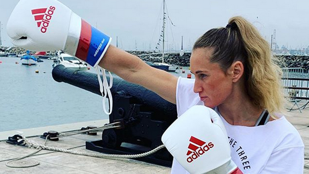 La boxeadora Ginny Fuchs, capitana del equipo olímpico de Estados...