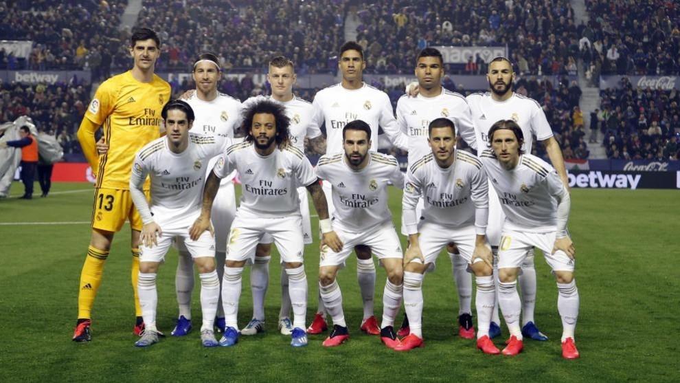 El once del Real Madrid en el partido frente al Levante.
