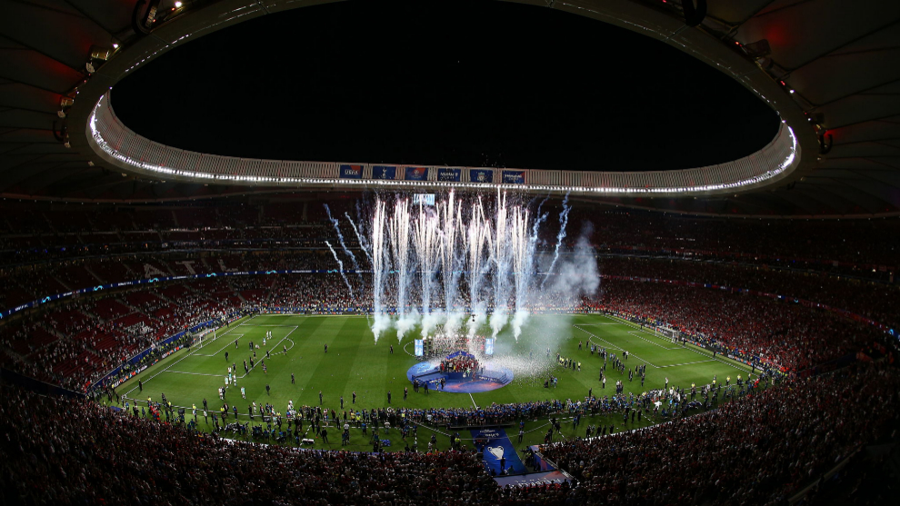 La ceremonia de la última final de la Champions League en el Wanda...