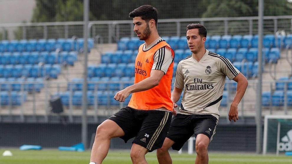 Vazquez and Asensio in training.