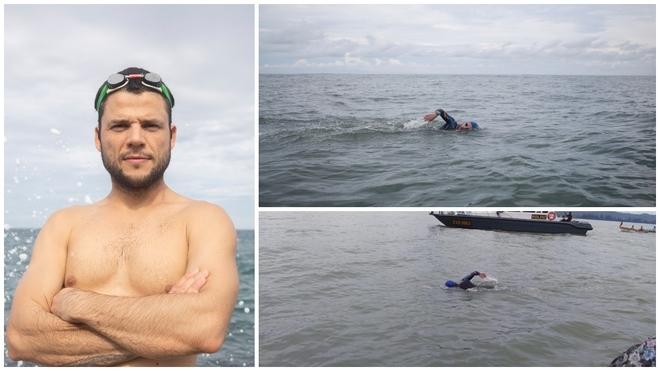 Ignacio Dean, durante tres de sus travesías para unir a nado los...