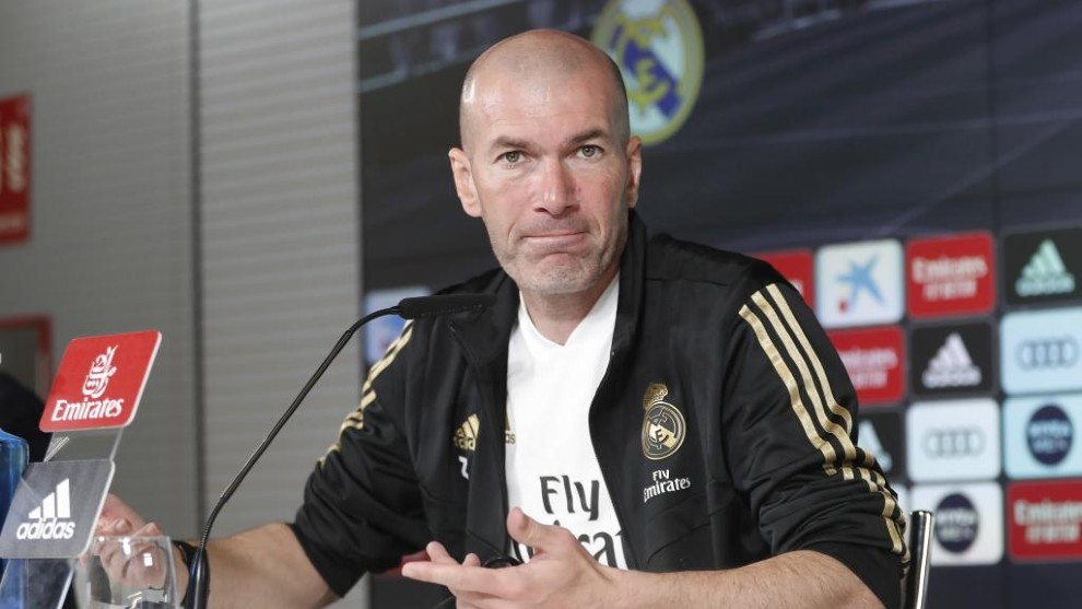 Zidane during his press conference at Valdebebas.