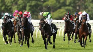 Un jockey levanta la fusta para golpear al caballo.