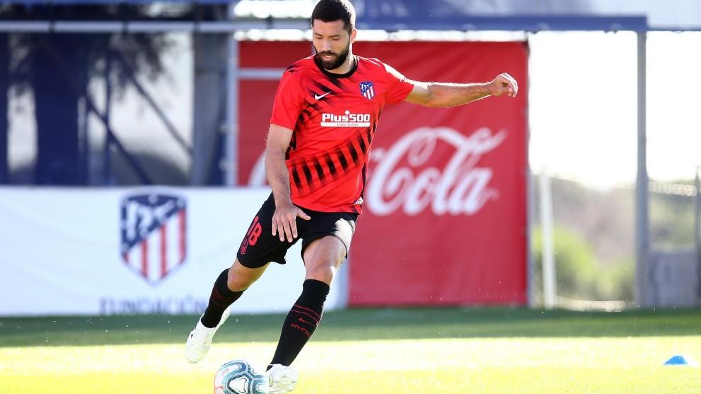 Felipe, durante un entrenamiento del Atlético.