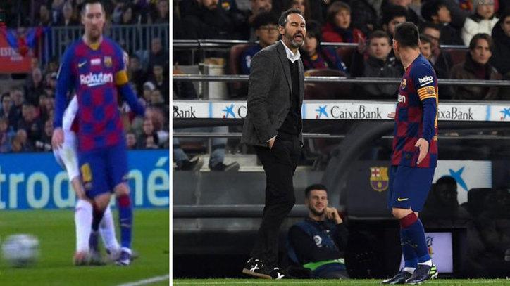Moment en el que Messi y Vicente Moreno mantienen una discusión...