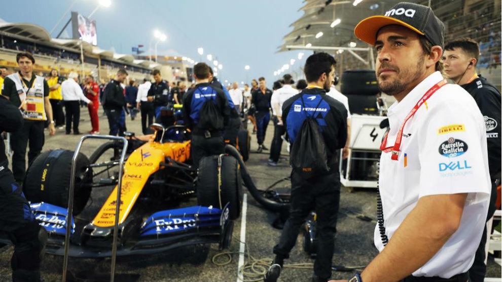 Fernando Alonso, en una parrilla de Fórmula 1.