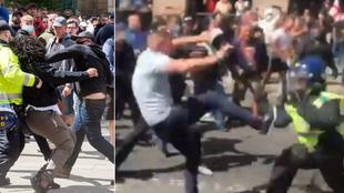 Batalla campal en Londres: brutal enfrentamiento entre la policía y los anti-manifestantes
