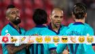 Braithwaite celebra su gol con Vidal, Messi y Griezmann
