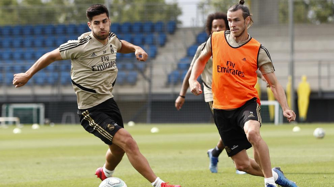 Bale and Asensio in training.