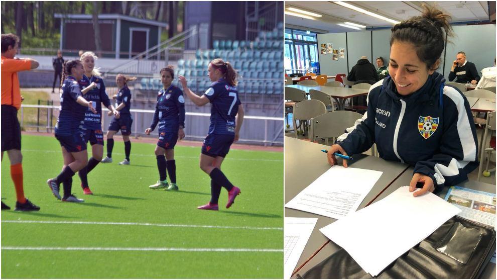 Rosita Herreros vive su tercera temporada como jugadora del Åland...