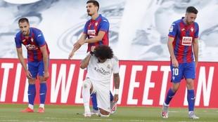Marcelo tras marcar el tercer tanto del Real Madrid ante el Eibar,...