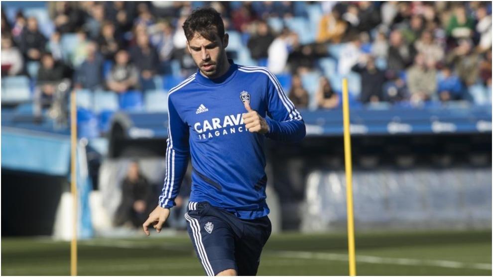 Guitian, durante un entrenamiento reciente con el Real Zaragoza.