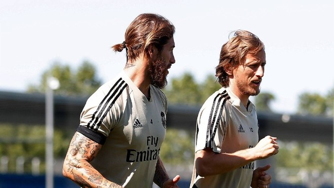 Ramos and Modric during Monday's session.
