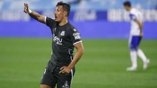 Fran Sandaza celebra el gol que marcó, el tercero del Alcorcón al...