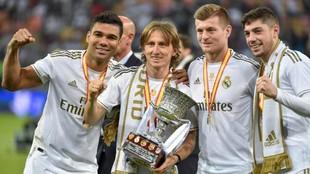 Los jugadores del Real Madrid, Casemiro, Modric, Kroos y Valverde,...