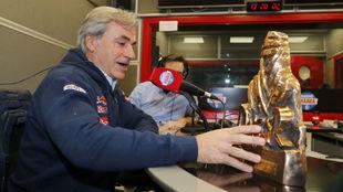 Carlos Sainz, durante su visita a Radio MARCA el pasado mes de enero.