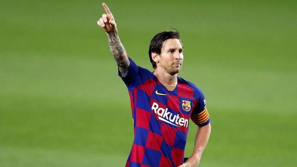 Leo Messi posa tras marcar su gol contra el Leganés.
