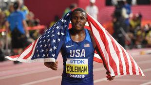 Chris Coleman, tras ganar los 100 metros del Mundial de Doha.