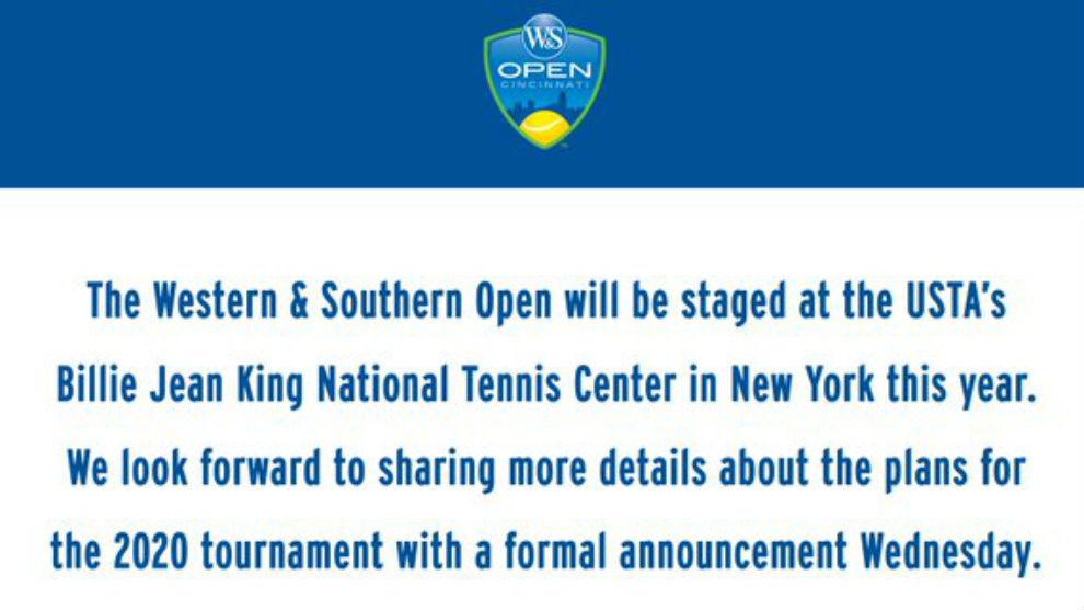 El torneo de Cincinnati mueve su sede a Nueva York