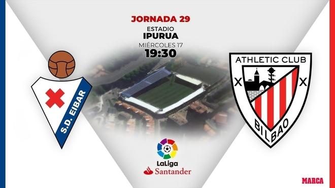 Horario y donde ver hoy por TV el partido entre Eibar y Athletic Club.